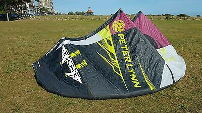 11m kitesurfing kite Peter Lynn complete with bar and lines.
