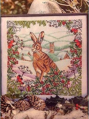 Winter Hare Snow Scene Christmas Cross Stitch Chart