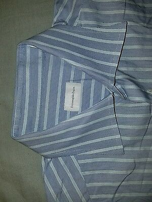 Ermenegildo Zegna [16] blue stripe RECENT French cuff button front shirt
