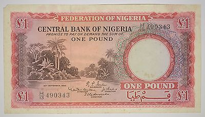 1958 CENTRAL BANK OF NIGERIA 1 POUND BANKNOTE P. 4a