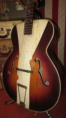 Vintage SS Stewart Archtop Acoustic Guitar Brown and White Awesome Art Deco
