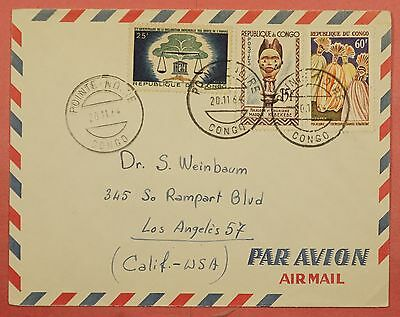 1964 Congo Pointe Noire Cancel Airmail Cover To Usa
