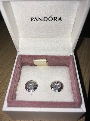 Pandora Signature Sterling Silver Stud Earrings Brand New In Box