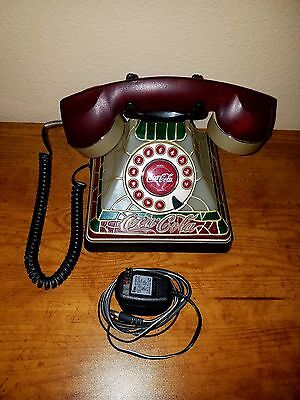 Coca Cola Lighted Stained Glass Rotary Push Button Telephone