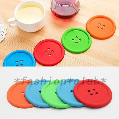 5PCS Silicone Coffee Placemat Button Coaster Cup Glass Beverage Holder Pad Mat
