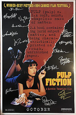 PULP FICTION MOVIE POSTER Signed by 14 w/COA!