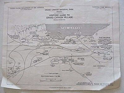 Vintage 1952 ~ Visitor's Guide Map GRAND CANYON VILLAGE ~ARIZONA~ National Park