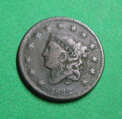 Coronet Head Penny 1832  Large One Cent United States GOOD DETAIL