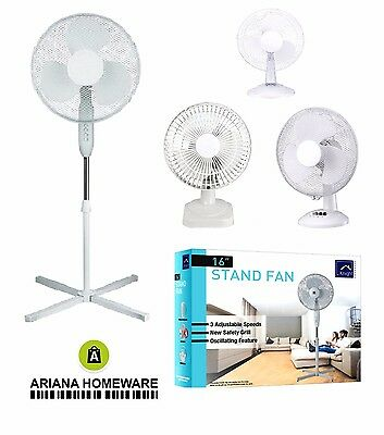 """6"""" /12"""" / 16"""" Pedestal Oscillating Stand Fan Desk Electric Tower Standing Home"""