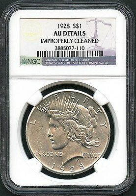 1928 Silver Peace Dollar NGC AU Details Improperly Cleaned -135759