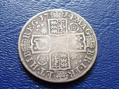 Queen Anne Sterling Silver Shilling 1714 Great Britain Uk