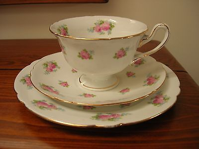 Shelley - (Late Foley) - Teacup Trio - Pink Roses - Gainsborough Shape.