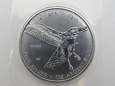 2015 1 oz THE RED TAILED HAWK SILVER MAPLE LEAF COIN CANADA $5 BIRDS OF PREY