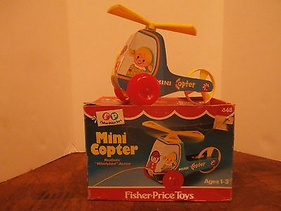 Vintage Fisher Price Mini Copter #448 Pull Toy in Original Box 1970 FREE SHIPPIN