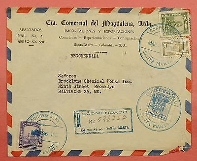 1949 Colombia Registered Airmail Cover To Usa