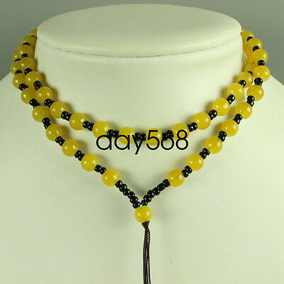 Chinese yellow jade necklace, pendant preparation rope