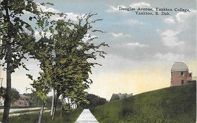 Douglas Avenue Yankton College Yankton SD nice postcard not postally used