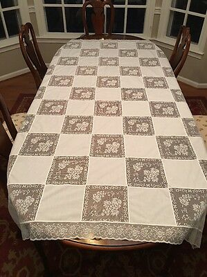 """True Vintage Army Navy Filet Lace Linen Tablecloth Banquet Size White 89"""""""