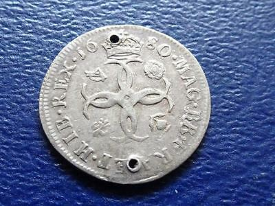 Charles Ii Maundy Fourpence 1680 4D Holed Great Britain Uk