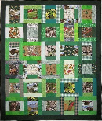Nature / Wildlife / Outdoors 30-blocks QUILT TOP in Shades of GREEN No Reserve