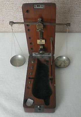 Antique Apothecary Gold Scale & Weight Set- in Original Wooden Case