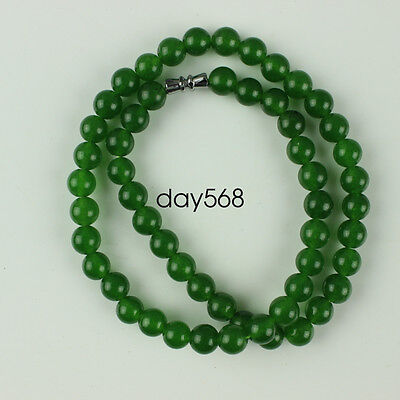 6mm China fashionable noble green jade stone bead necklace LJQ414
