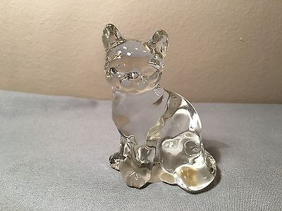 Vtg Fenton Clear Crystal Clear Glass Sitting Cat Figure Figurine Paperweight
