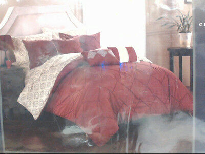 NEW Chic Home Design 10pc Maddie Reversible Comforter Set Queen Red $385