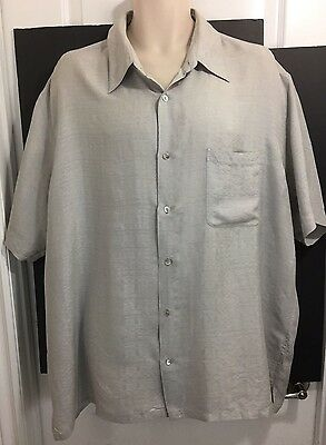 Men's Gray ALFANI Button Front Short Sleeve Dress Shirt 100% Silk Size XXL