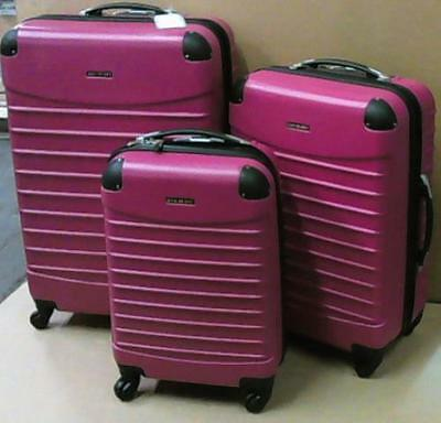 NEW Ciao Voyager 82619 Hardside Spinner Luggage Set of 3-Piece Lake Pink $900