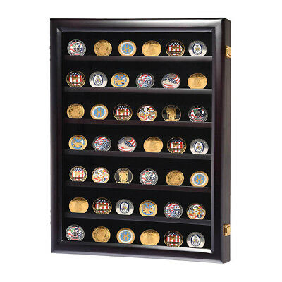 Lockable Challenge Coin Display Wall Cabinet Wood Case Casino Chip Shadow Box