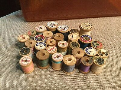 Vintage Wooden Spools, 29 assorted sizes - most with thread