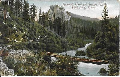 Spearfish Brook Stevens Point Black Hills SD nice postcard postally used in 1913