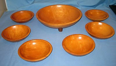 VTG/Antique MUNISING Footed Wooden Bowl Set/Lot 7 Salad!