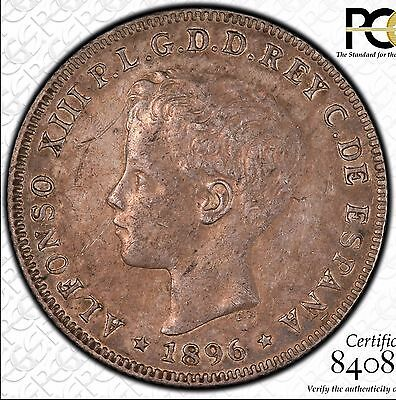 1896 Puerto Rico 40 Centavos, PCGS XF45, Alfonso XIII, Nice Problem-Free Coin