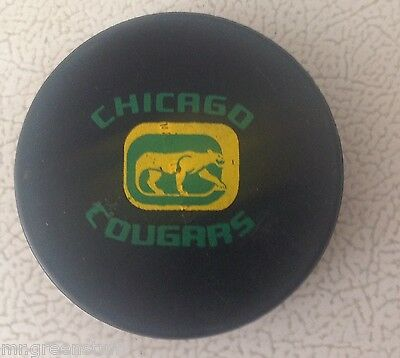 WHA GAME PUCK BILTRITE CHICAGO COUGERS 1970's