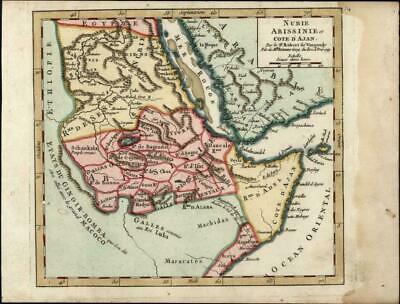 Ethiopia Arabia Mecca Nubia Sudan East Africa c.1750 Vaugondy old antique map