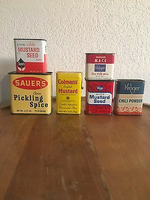 Lot of 6 Vintage Kitchen Spice Tins KROGER  COLEMAN'S SAUER'S & TONES