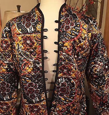 NEW REVERSIBLE Quilted Jacket Top SACRED THREADS Asian Style Mandarin Collar M