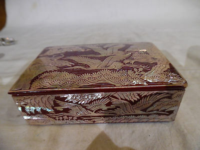 Old Asian Red Lacquer Trinket Box With Mother Of Pearl