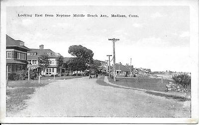 Looking E Neptune Middle Beach Av Madison CT nice postcard postally used in 1923