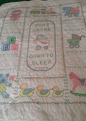 NEW Hand Finished Nursery Time Cross-Stitch baby crib quilt- Great shower gift