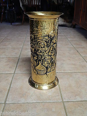 Vtg  Antique E England Brass  Old World Repousse Design  Umbrella, Cane Stand
