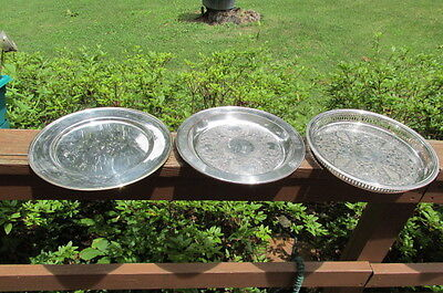 """3 Vintage Silverplate Serving Trays Etched bottoms Towle 12"""" & 13"""""""