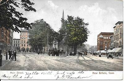 Main Street New Britain CT nice postcard postally used and postmarked in 1906