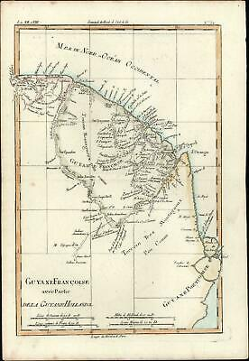 Dutch French Guiana Brazil South America c.1780 Bonne old antique color map