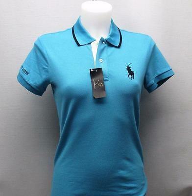 New Ladies XS Ralph Lauren Tailored Golf Fit polo Turquoise Cotton Spandex