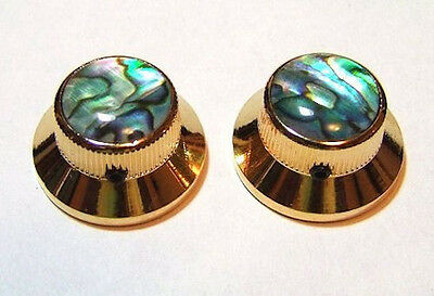 Guitar Hardware METAL TOPHAT Skirt KNOBS 1/4inHole - ABALONE TOP - Set 2 - GOLD