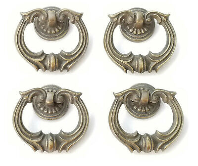 "4 Ornate Handles Pulls w Detailed Drop Ring Antique Vintage Style 1 3/4"" #H10"