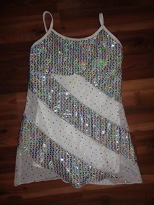 Jazz Modern Dance Costume White Contemporary Adult Small S Holographic Bling EUC